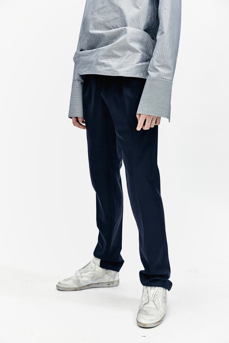 DELADA Slim Navy Trousers pants blue suit pleat aw17 wool Autumn Winter 17