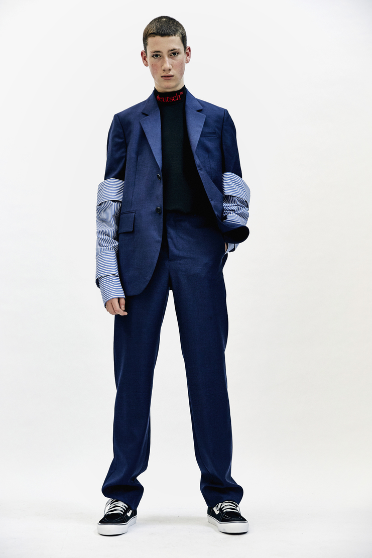 DELADA single breasted Jacket with Detachable Sleeves aw17 vivid blue suit tailored delad Autumn Winter 17