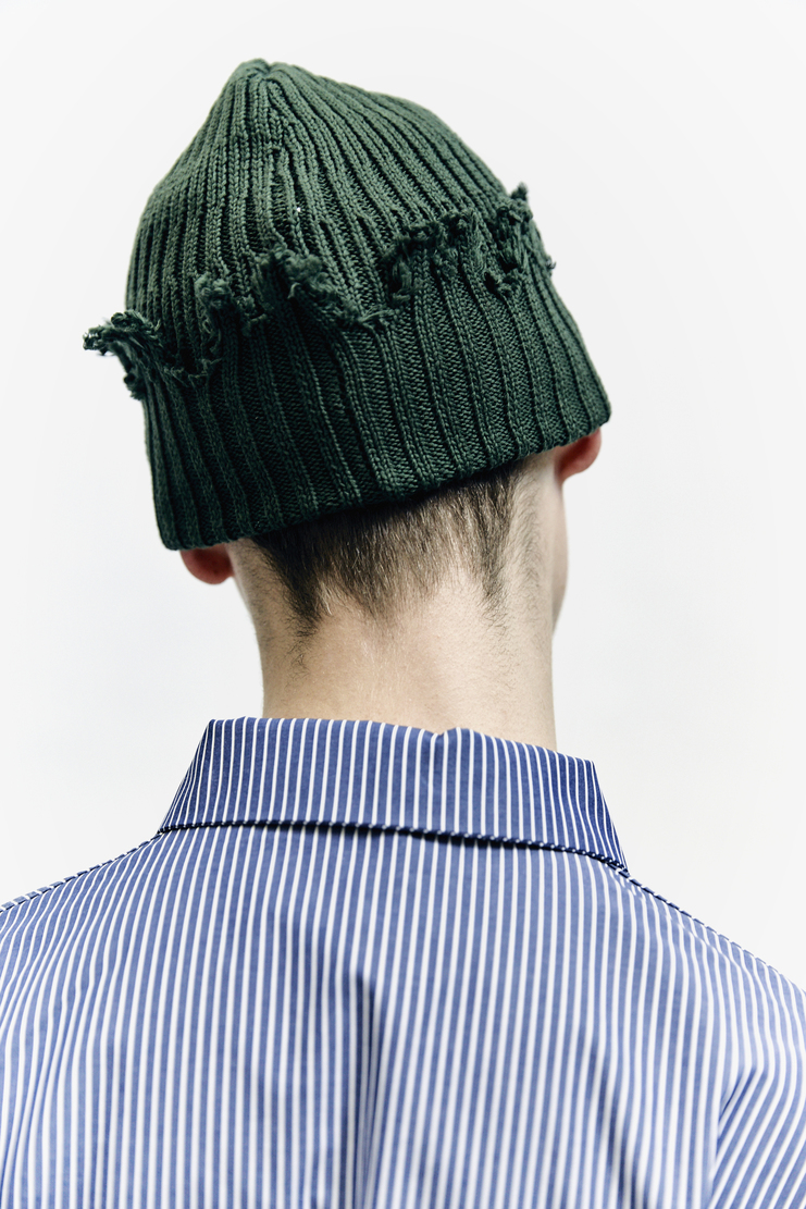 Liam Hodges, Knit Beanie, Green Autumn Winter 17 AW17 A/W17 Cotton Knitted Hat Accessories