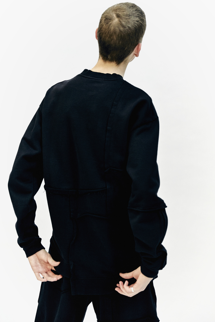 Liam Hodges Sweater Jumper AW 17 Autumn Winter Workwear Cotton black long sleeved patchwork