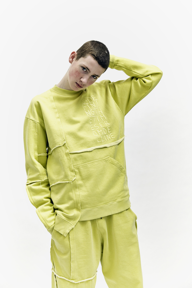 Liam Hodges Sweater Jumper AW 17 Autumn Winter Workwear Cotton Lime long sleeved patchwork
