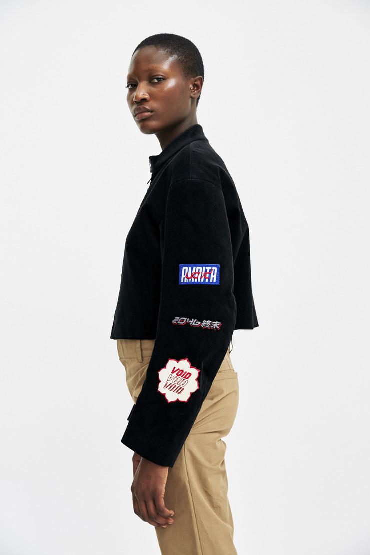 Hyein Seo Embroidered Corduroy Jacket Autumn Winter 17 AW17 A/W17 Black Patches VOID overrrun Coat South Korea Cotton