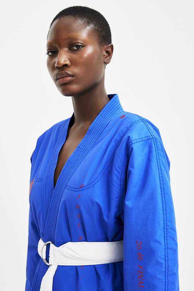 Hyein Seo Jiu-Jitsu Jacket With Belt Autumn Winter 17 AW17 A/W17 Blue Karate Martial Arts Uniform Screen Printed Graphics AMRITA South Korea Nylon