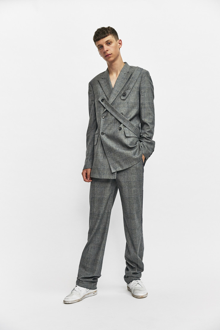 DELADA Relaxed Trousers Grey Check pants bottoms suit aw17 delad tailored tailor Autumn Winter 17