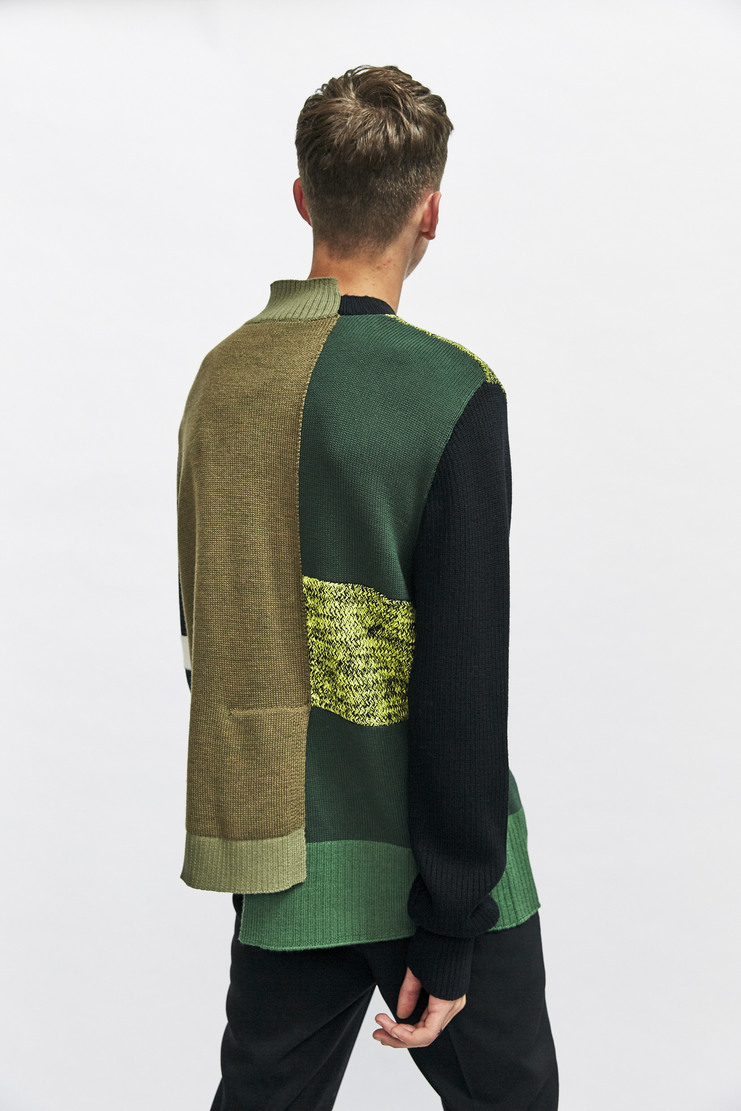 Liam Hodges Structures Jumper Autumn Winter 17 AW17 Green Olive Black Patchwork Cut And Sew Wool Cotton