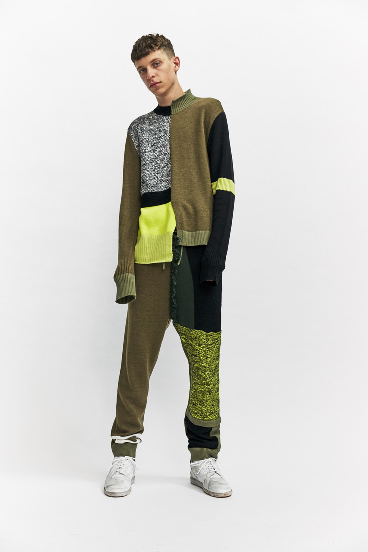 Liam Hodges Structures Jumper Autumn Winter 17 AW17 Multi Patchwork Cut And Sew Olive Green Yellow Black Wool Cotton
