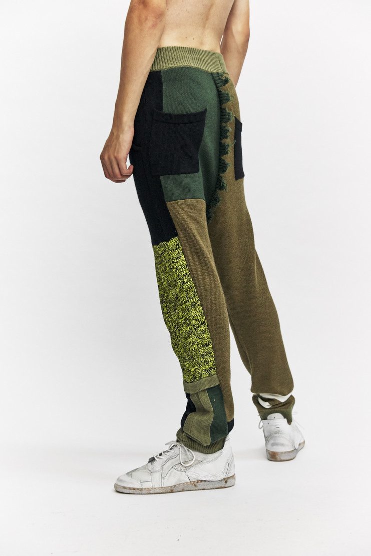Liam Hodges Structures Pant Autumn Winter 17 AW17 Green Olive Black Patchwork Trousers Cut And Sew Wool Cotton