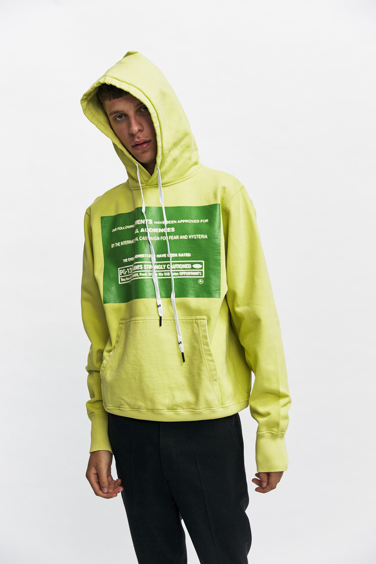 Liam Hodges The Following Hoody Autumn Winter 17 AW17 Lime Green Graphic Print Box Sweatshirt Cotton hoodie hooded jumper sweater