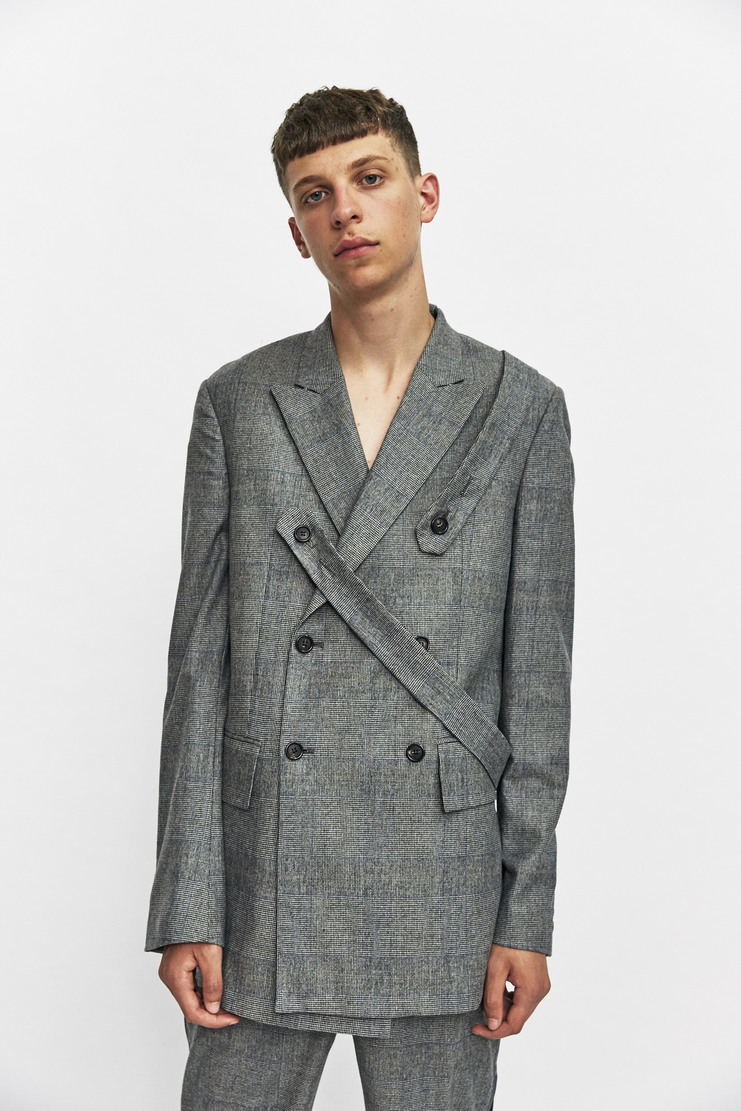 Delada Double Breasted Jacket Blazer Autumn Winter 17 AW17 2 Straps Button Suit Jacket Open Back Light Grey