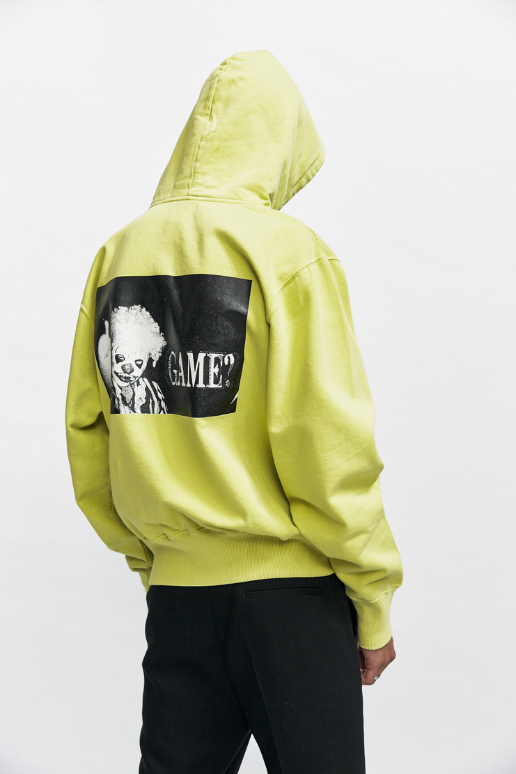 Liam Hodges Game? Hoody Autumn Winter 17 AW17 Lime Green Embroidery Graphic Print Hoodie Hooded Pullover Clown Ideology Is A Myth