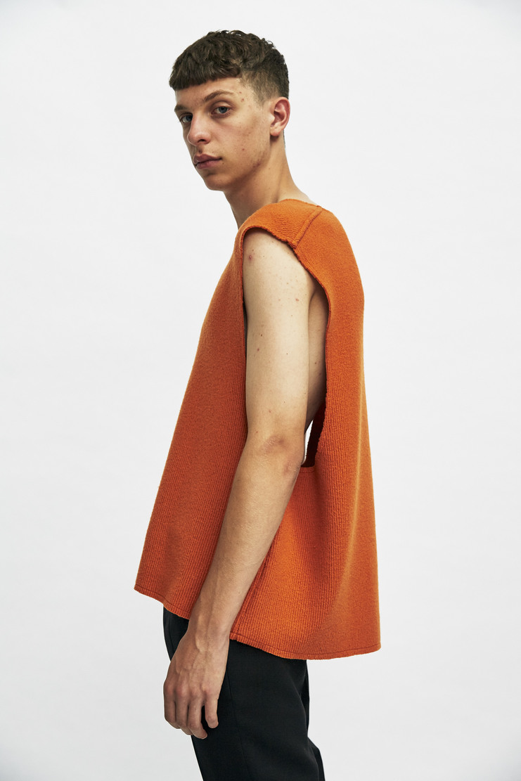 Delada V-Neck Oversized Vest Autumn Winter 17 AW17 Orange Sweater Wool Italy