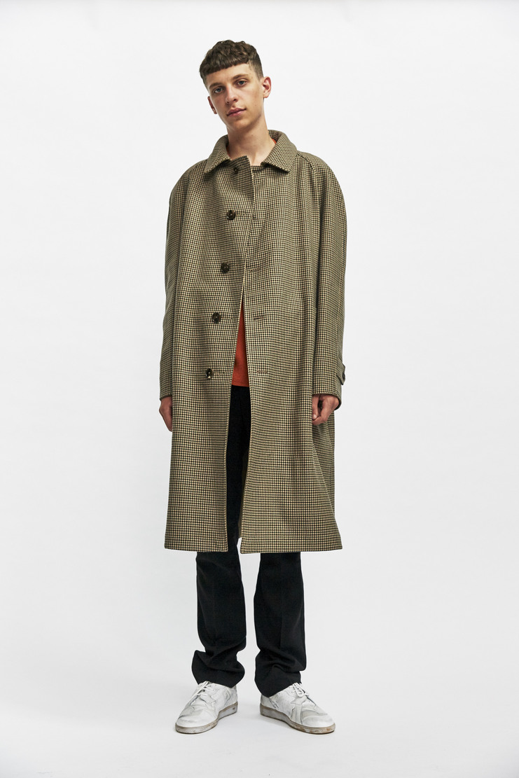 Reversible Maison Margiela Houndstooth Check Coat Autumn Winter 17 AW17 Overcoat Long Jacket Brown Checked MMM Galliano Margeila