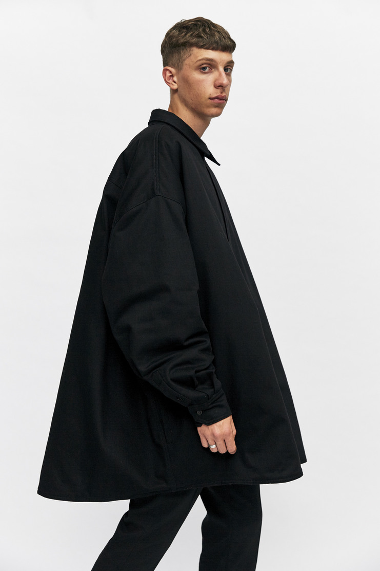Raf Simons Oversized Shirt Coat Autumn Winter 17 AW17 Jacket Simmons Black Cotton Quilted Padded