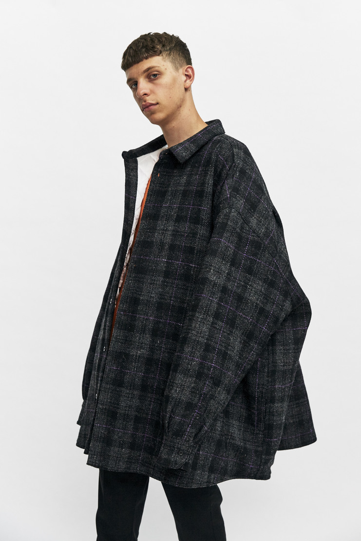Raf Simons Oversized Shirt Coat Autumn Winter 17 AW17 Jacket Simmons Grey Check Cotton Quilted Padded