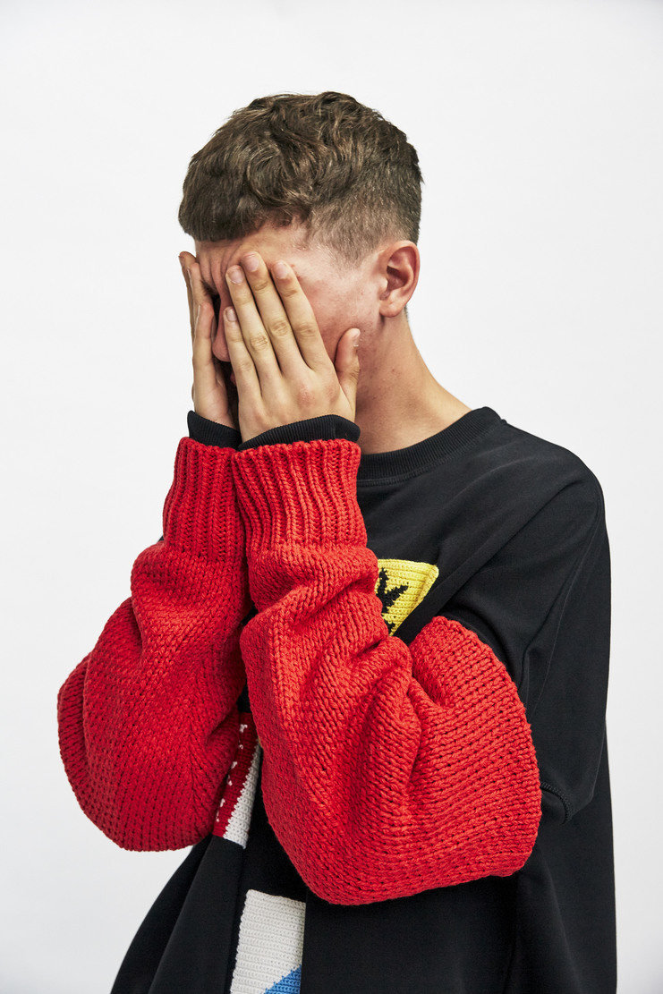 Raf Simons Americano Striped Sleeves Autumn Winter 17 AW17 Simmons Wool Knitted Red