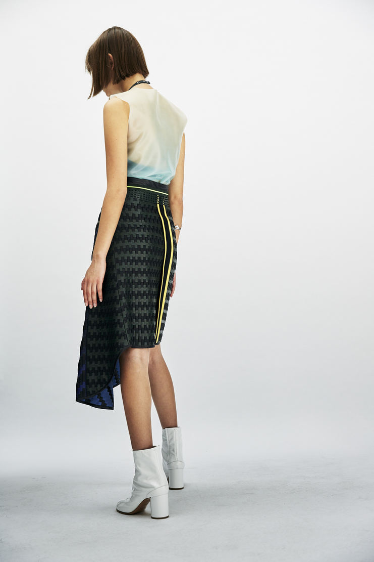 martina spetlova woven asymmetric skirt black green blue knee aw17 martina spitlova martine spetlova