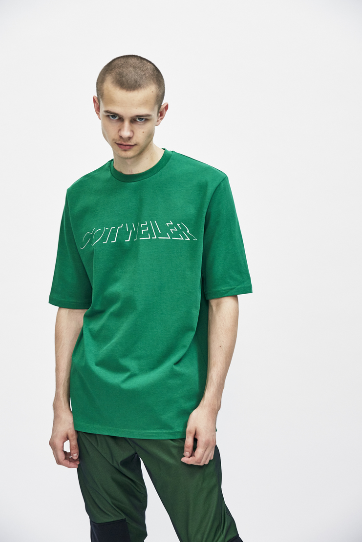 Green Signature T-shirt from Cottweiler's A/W 17 collection. The T-shirt features short sleeves, a crew neck and a printed graphic logo to the front.
