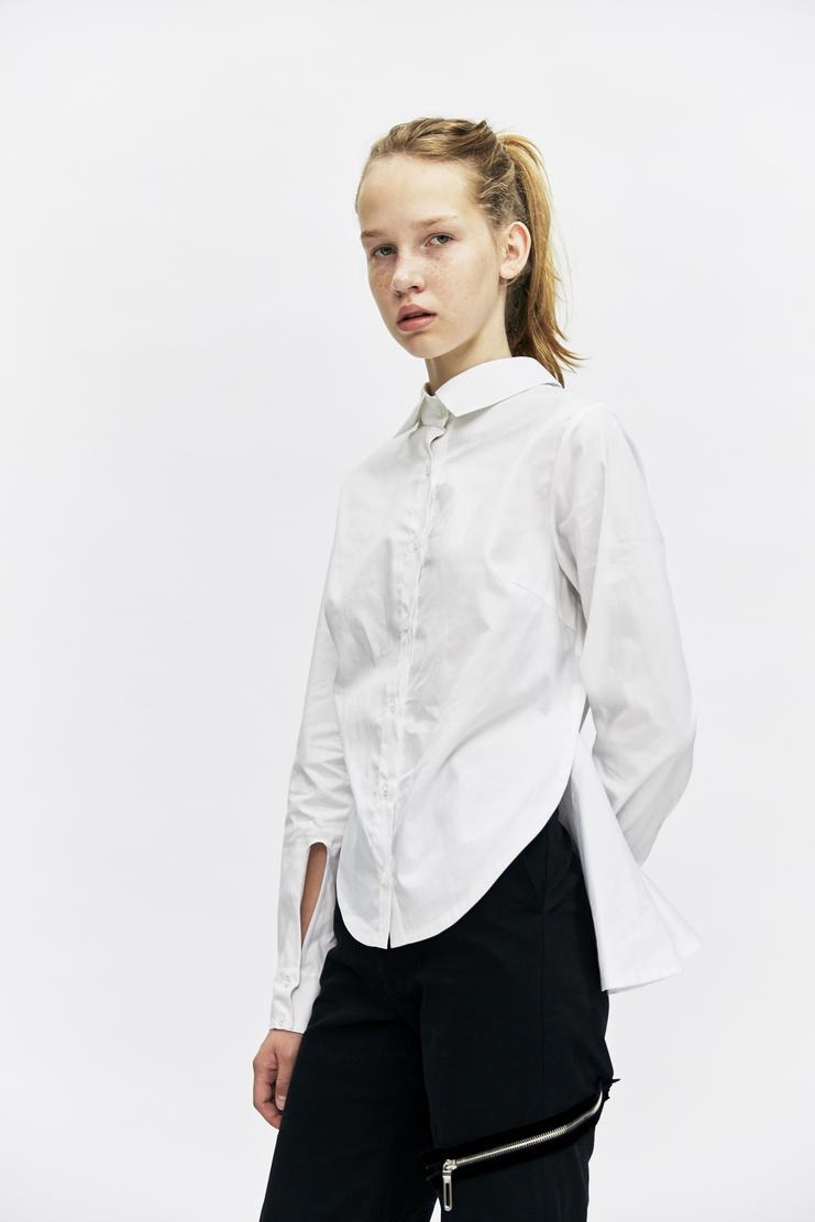 Ovelia Transtoto Tempra Shirt Autumn Winter 17 AW17 White Button Frilled Reverse Collar Ovellia Transto