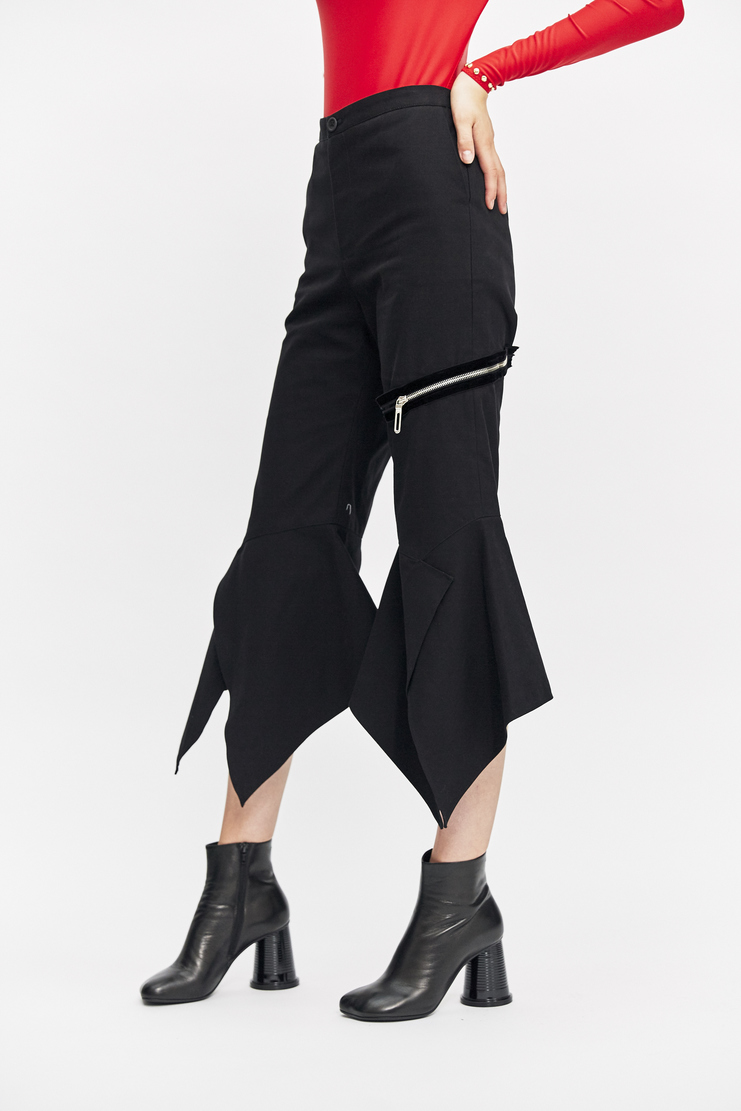 Ovelia Transtoto Palmer Trousers Autumn Winter 17 AW17 Split Flared Black Zip Pocket Ovellia Transoto