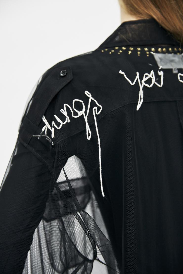 Maison Margiela Tulle Shirt Autumn Winter AW17 aw 17 aw/17 MMM Translucent White Embroidered Text Margeila Galliano