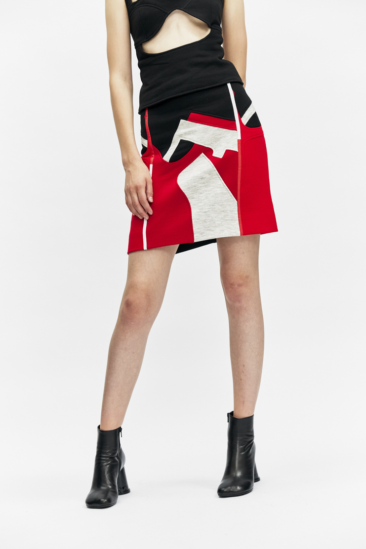 rue-l rue l aw 17 a/w17 a/w17 skirt geometric puzzle print black red grey