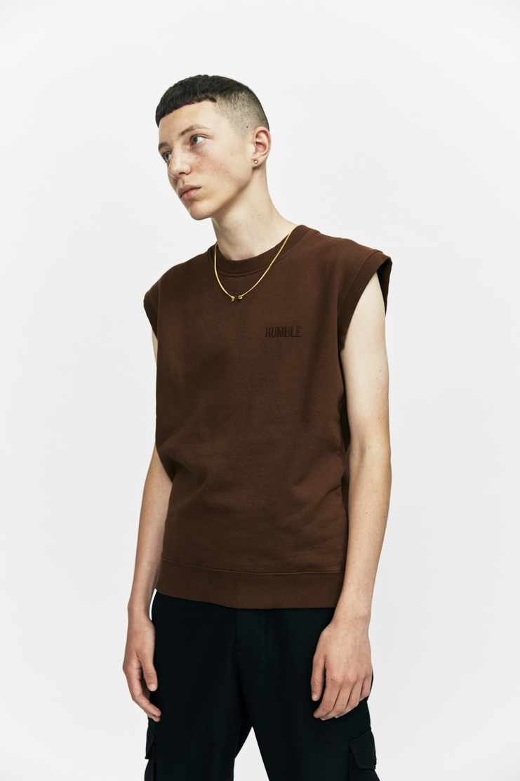DUST a/w 17 aw17 brown sleeveless sweatshirt vest sweater chain necklace