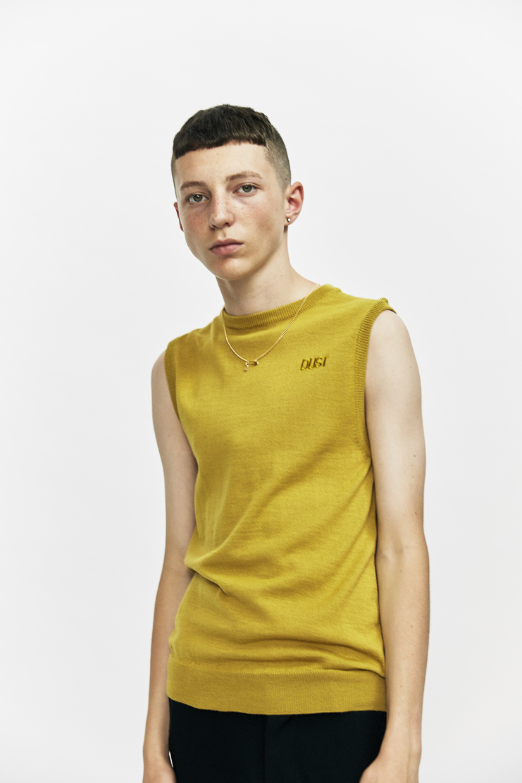 DUST a/w 17 aw17 black sleeveless sweatshirt vest sweater chain necklace