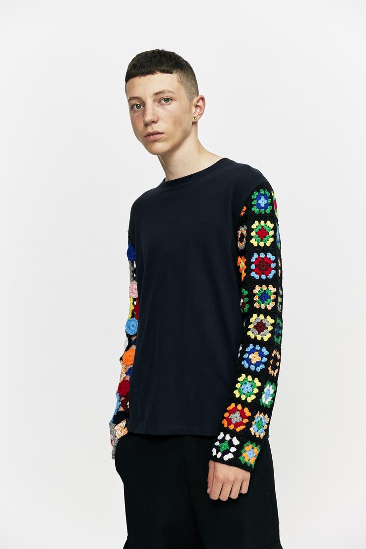 j.w. anderson jw anderson crochet knit navy sweater sweatshirt crewneck jumper long sleeve aw 17 a/w 17 aw17
