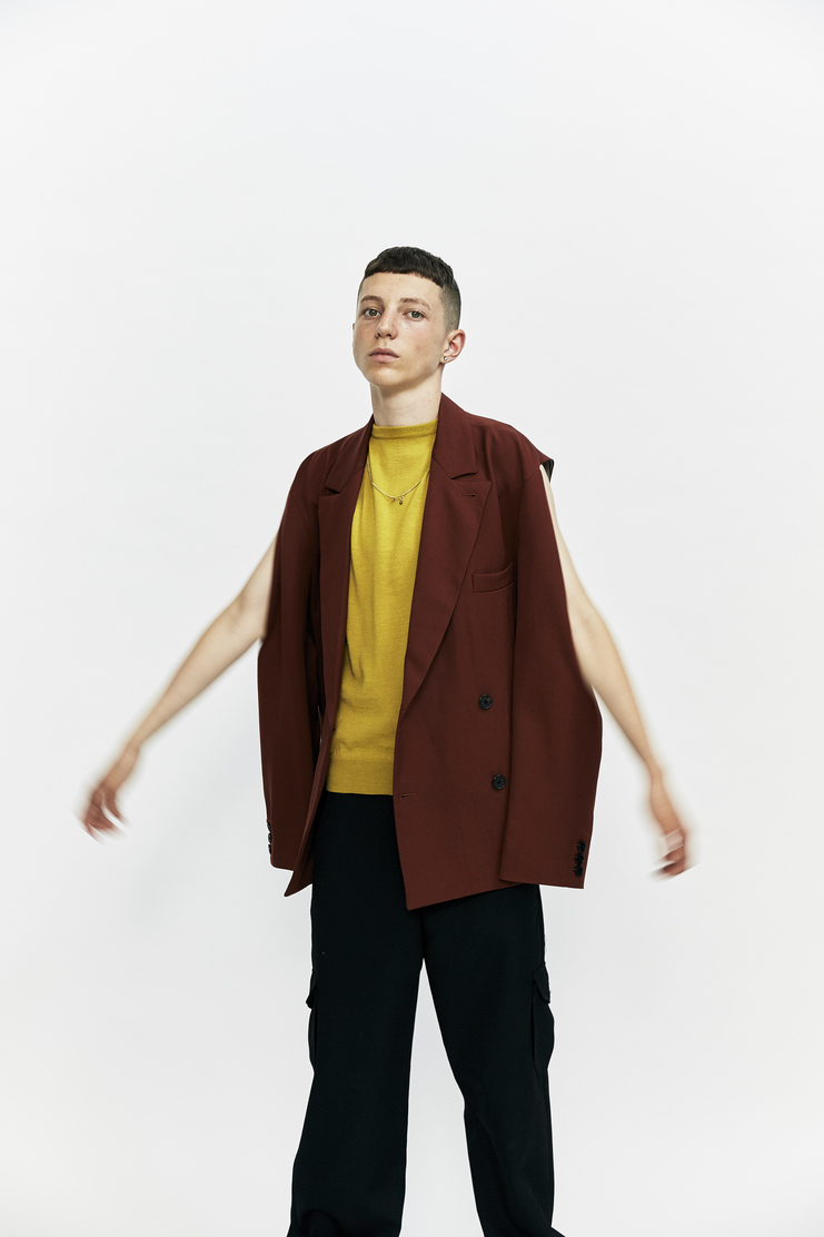Ambush Transformable Double Breasted Blazer Autumn Winter 17 AW17 Made In Japan Light Brown Suit Jacket Removable Sleeves