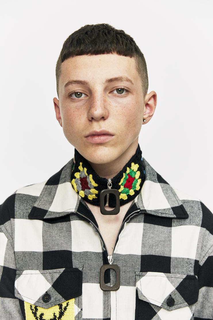 j.w. anderson jw anderson crochet knit necklace collar chocker tie knitted black