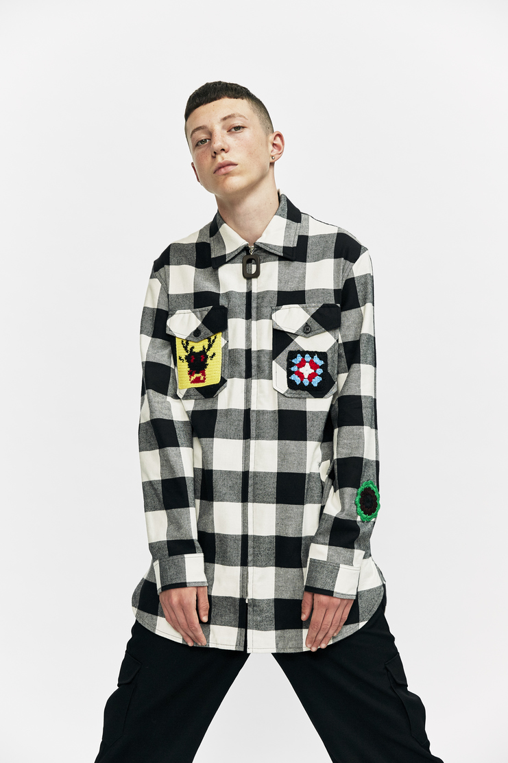 j.w. anderson jw anderson flannel patch embroidered checked shirt long sleeve collar a/w 17 aw17