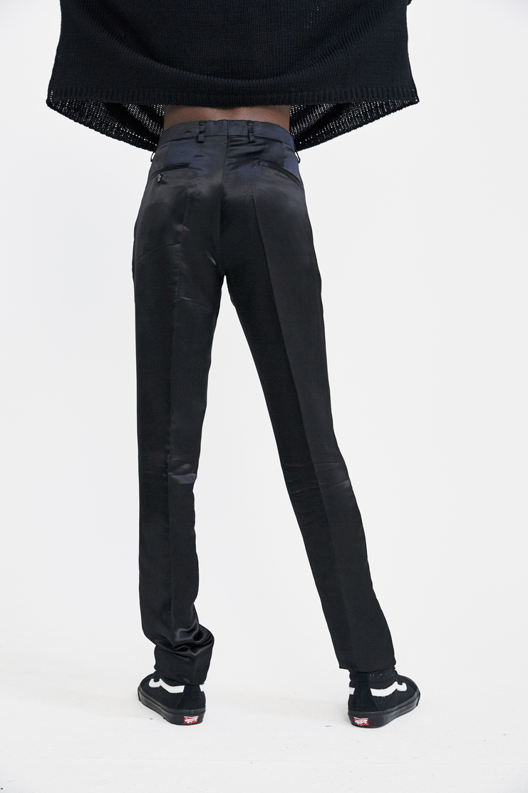 Raf Simons Satin Slim Pants Autumn Winter 17 AW17 Simmons Suit Trousers Black