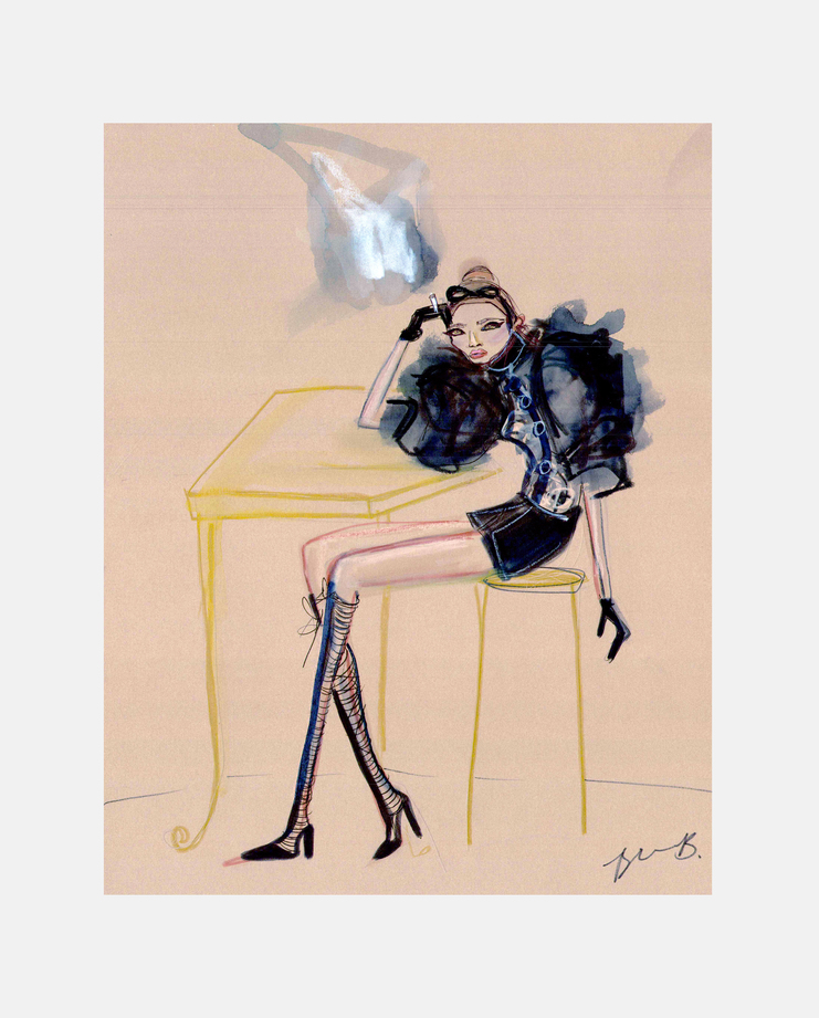 Louis Vuitton A/W 11, Blair Breitenstein, kate moss, moving kate, showstudio, fashion illustration