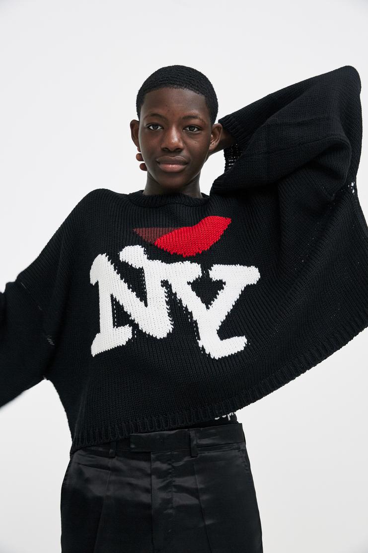 Oversized NY Knitted T-Shirt Autumn Winter 17 AW17 Simmons I Love NY New York Black