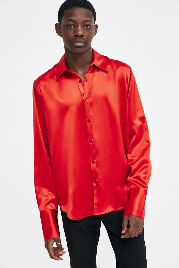 Martine Rose Red Silk Shirt a/w 17 aw 17 aw17 satin blouse top silky red