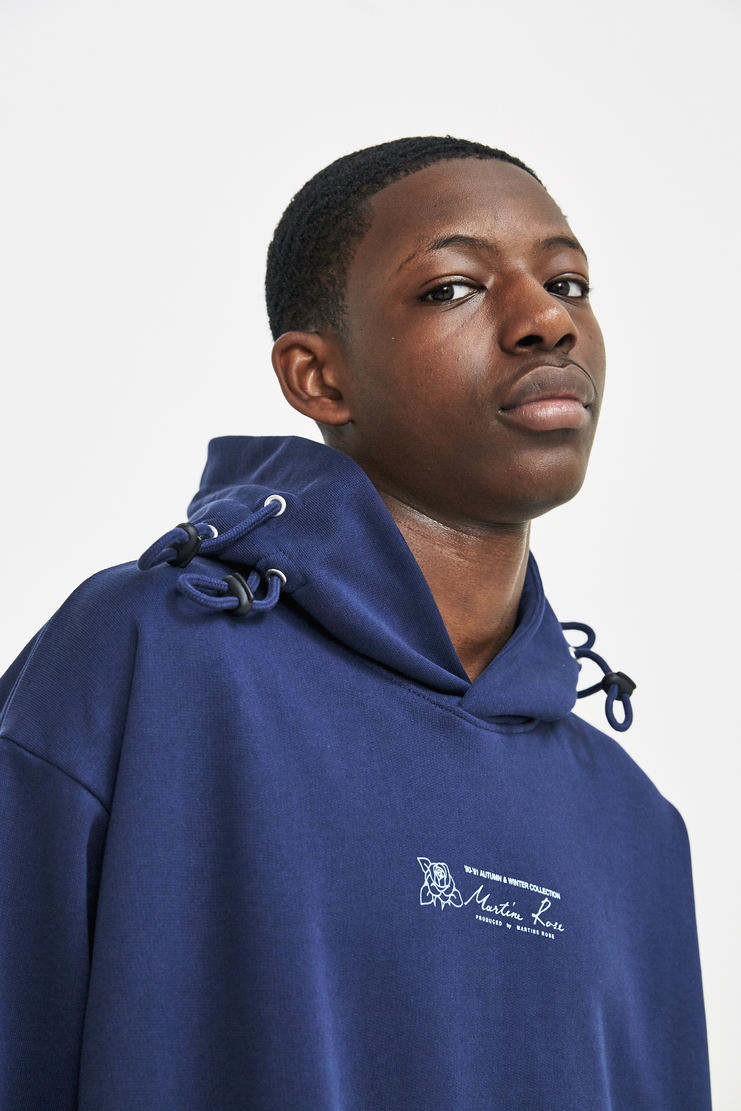 Martine Rose Triple Drawstring Logo Hoodie a/w 17 aw 17 aw17 navy hooded sweater sweatshirt hoodie hoody blue
