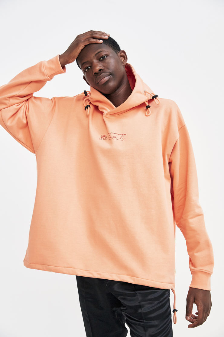 Martine Rose Triple Drawstring Logo Hoodie a/w 17 aw 17 aw17 peach hooded sweater sweatshirt hoodie hoody