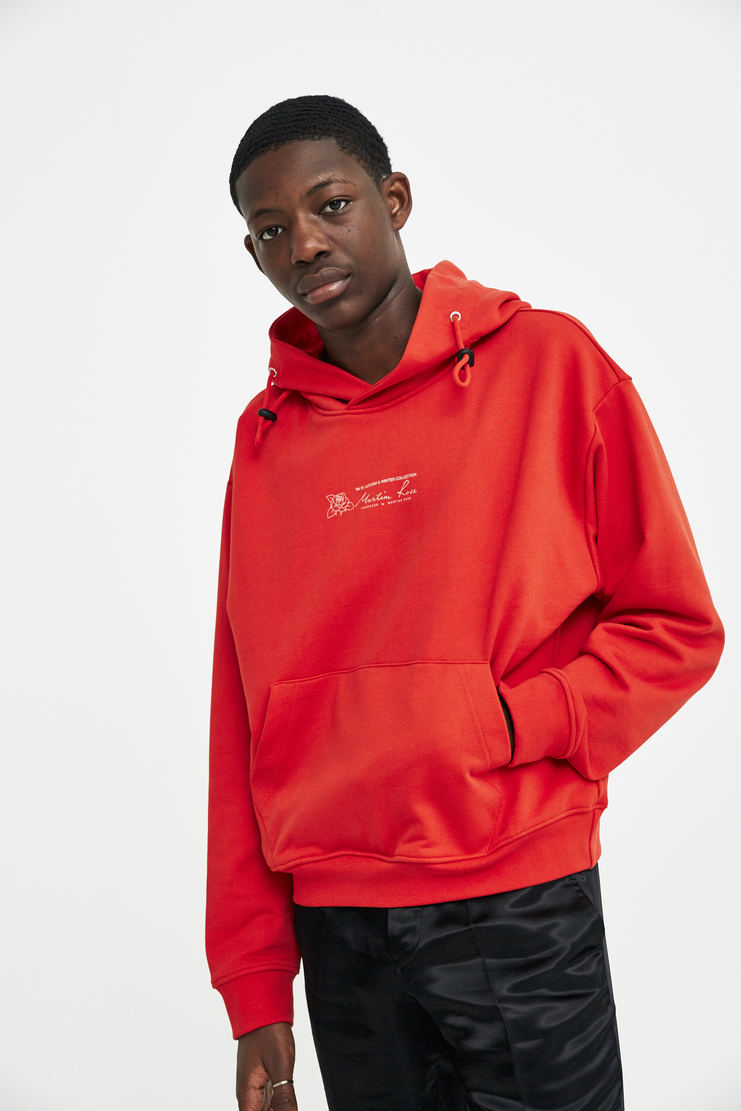Martine Rose Triple Drawstring Logo Hoodie a/w 17 aw 17 aw17 red hooded sweater sweatshirt hoodie hoody