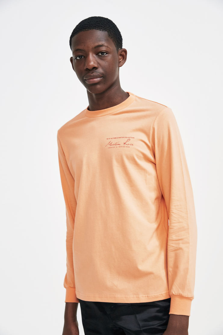 Martine Rose Long Sleeve Logo T-Shirt a/w 17 aw 17 aw17 LS t shirt tshirt jersey cotton logo branded pink peach