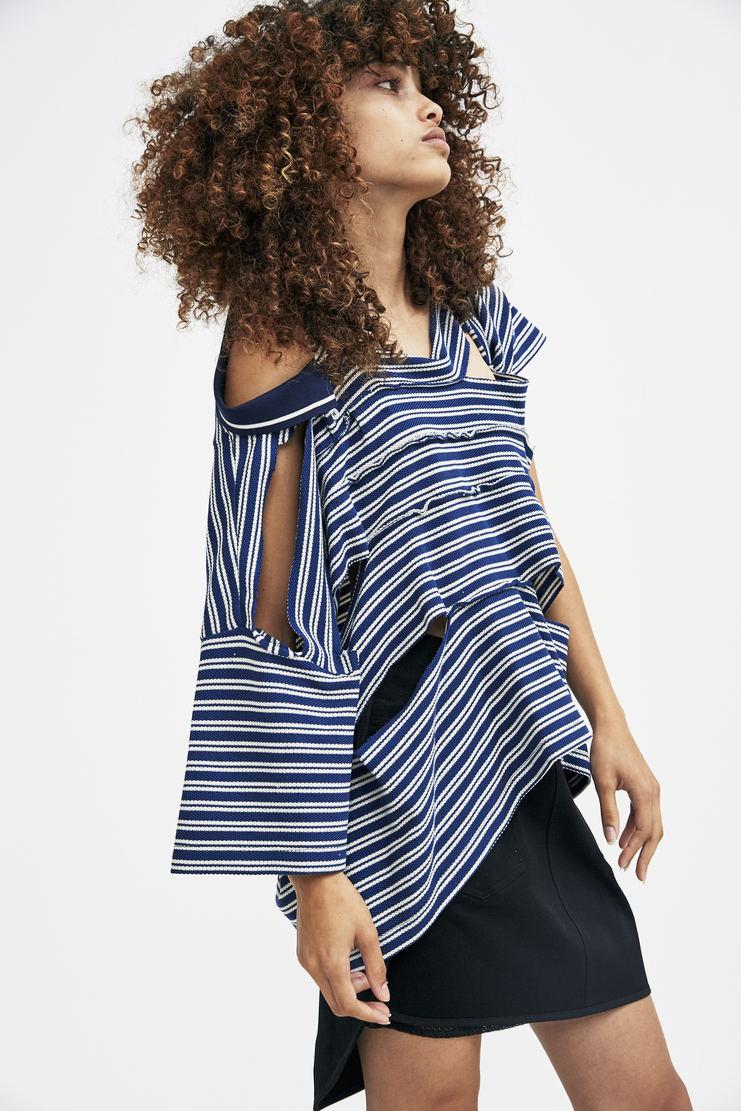 Maison Margiela Striped Piquet Top cotton polo collar stripy distressed a/w 17 aw 17 blue white
