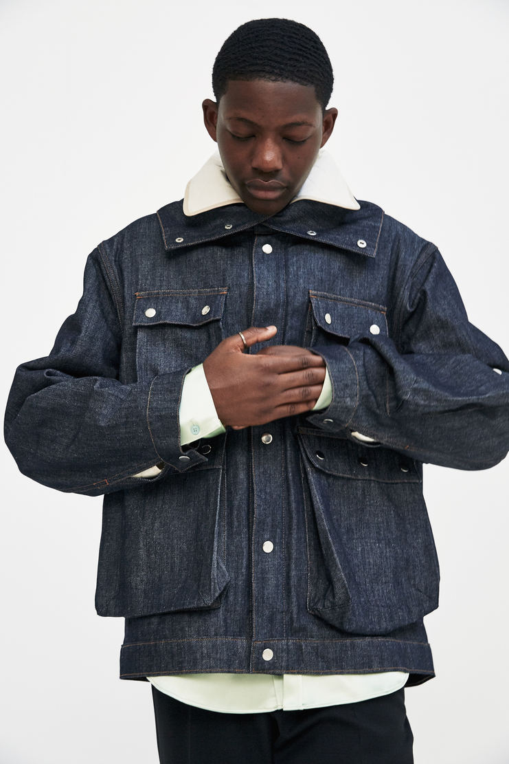 Alex Mullins Denim Funnel Jacket Autumn Winter 17 AW17 AM England Indigo Coat Quilted Collar Lining