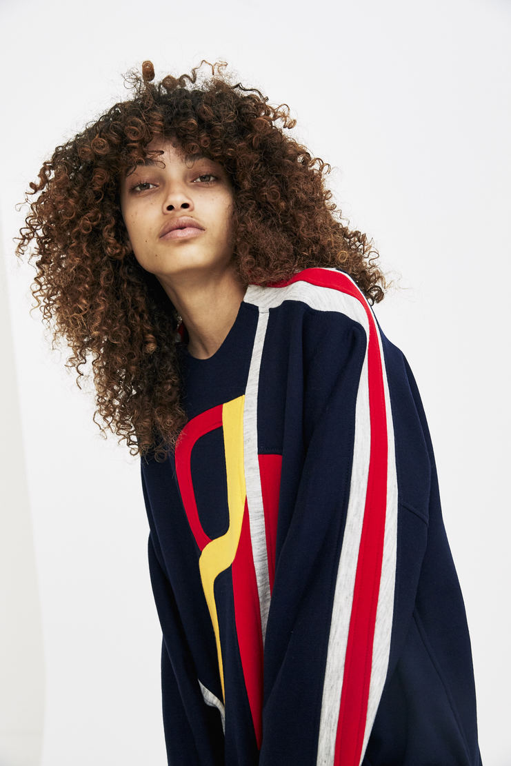 RUE-L Tracksuit Top rue l aw 17 a/w17 a/w17 navy sweater jumper sweatshirt ribbed cropped panelled