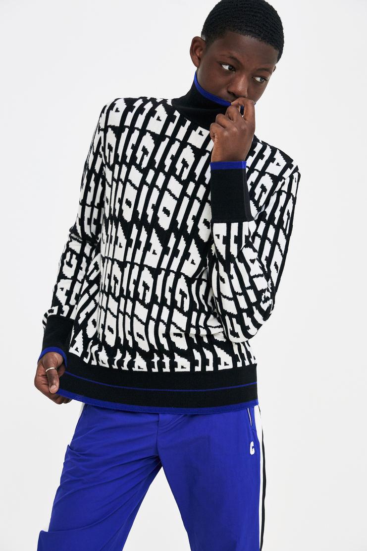 Tim Coppens Acid Sweater black white blue woollen mockneck a/w 17 aw17 tom copens