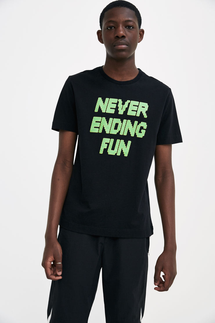 Tim Coppens Black 'Never Ending Fun' T-shirt short sleeve printed graphic a/w 17 aw17 tim copens