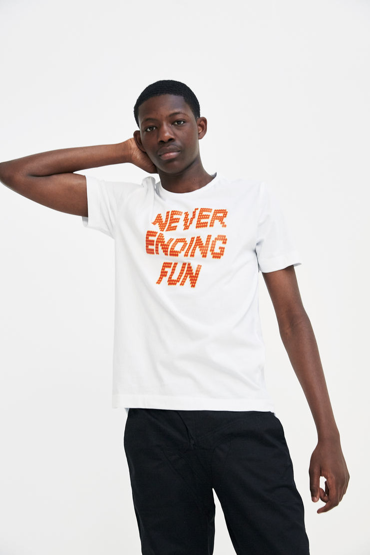 Tim Coppens White 'Never Ending Fun' T-shirt short sleeve printed graphic a/w 17 aw17 tim copens