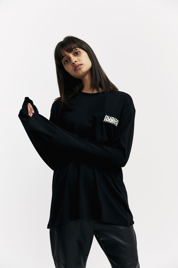 Hyein Seo 'Amrita' Embroidered Long Sleeve T-Shirt Autumn Winter 17 AW17 Black Patch South Korea Preorder