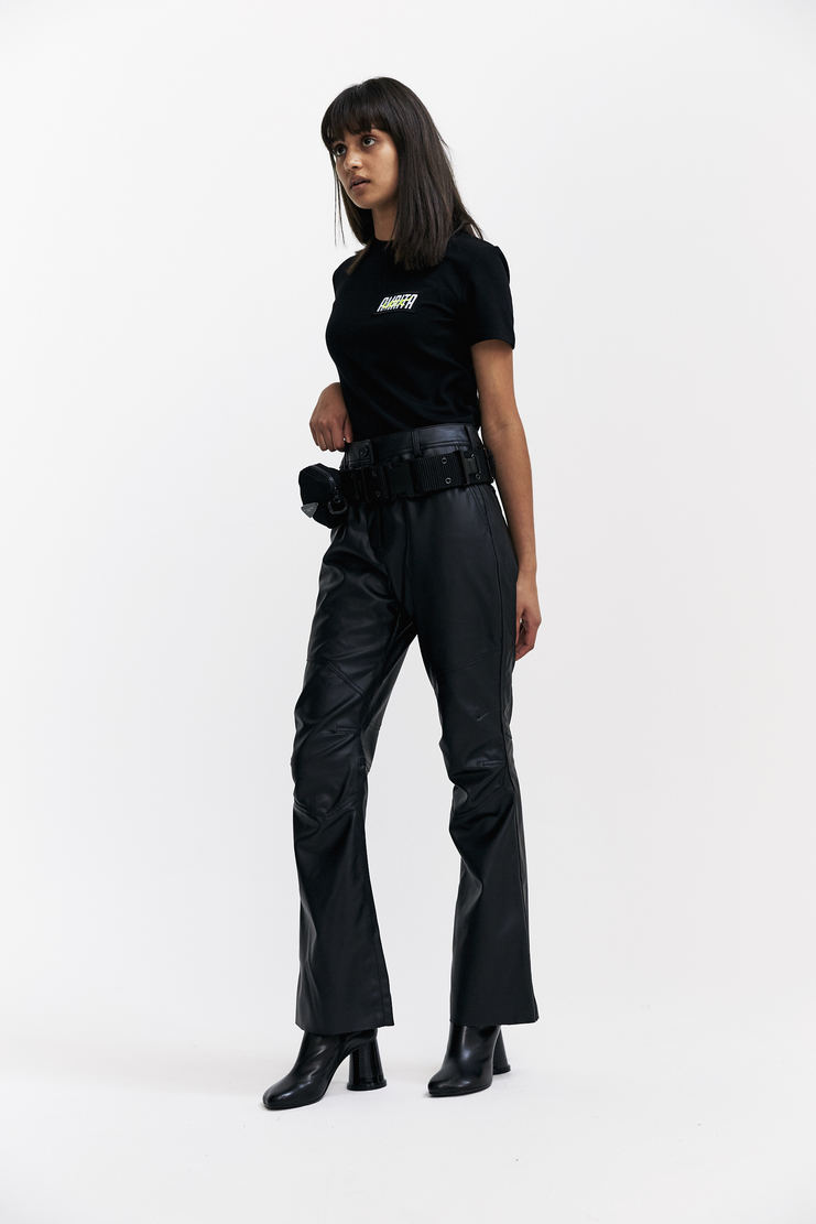 Hyein Seo Vinyl Trousers With Military Belt Autumn Winter 17 AW17 Hyein Seo South Korea Black Pouch