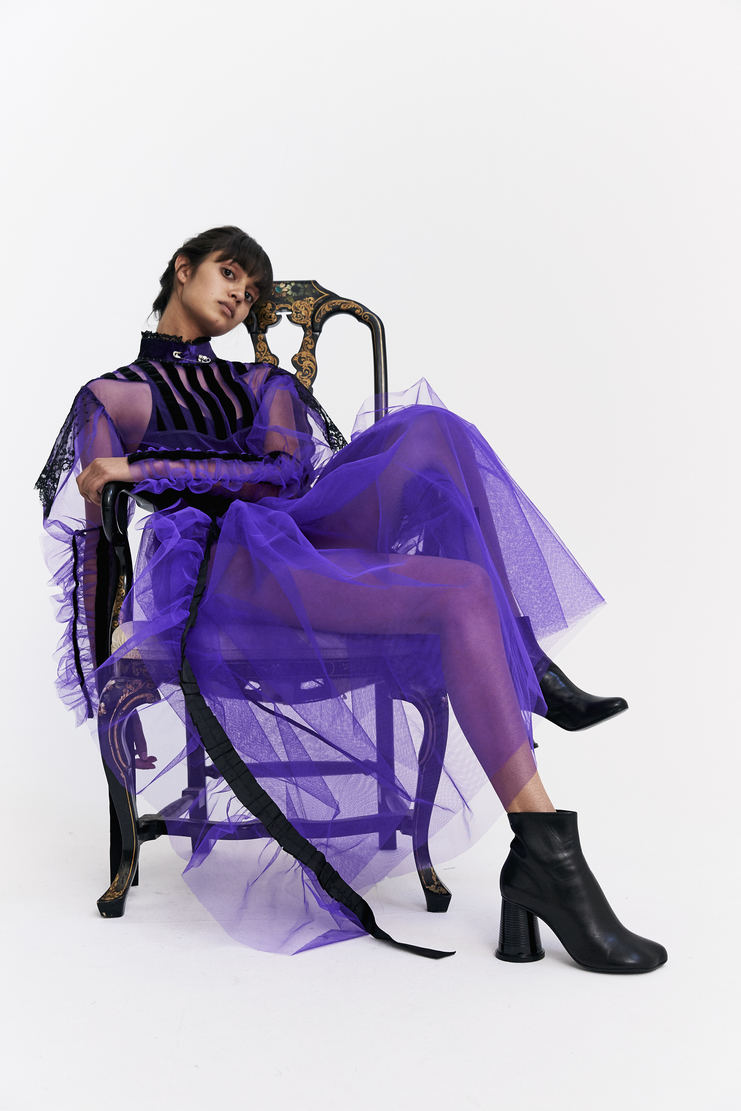 Dilara Findikoglu Victorian Alien Dress mesh net ribbon velvet halloween a/w 17 aw17 Dilara Findicoglu