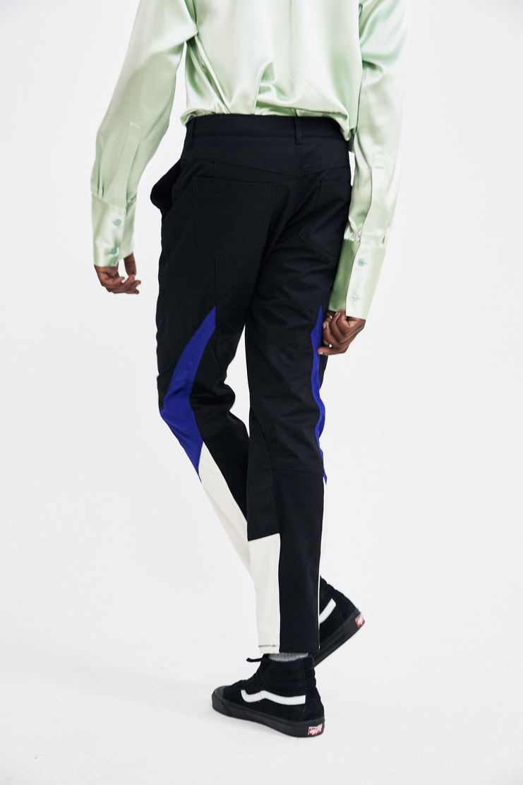 Tim Coppens Black Motocross Pants trousers trackpants blue white panels belt safety buckle a/w17 aw17