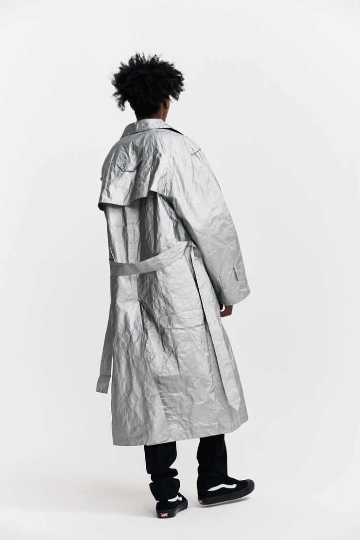 Xander Zhou Oversized Trench Coat silver metallic long boxy a/w 17 aw17 zander zou
